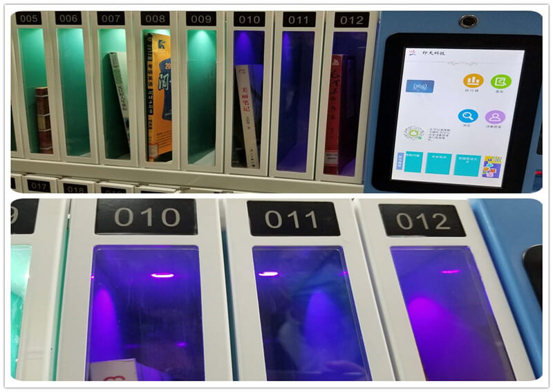 Intech barcode self check mini lib adopts the UV disinfection lamp to eradicate the virus.
