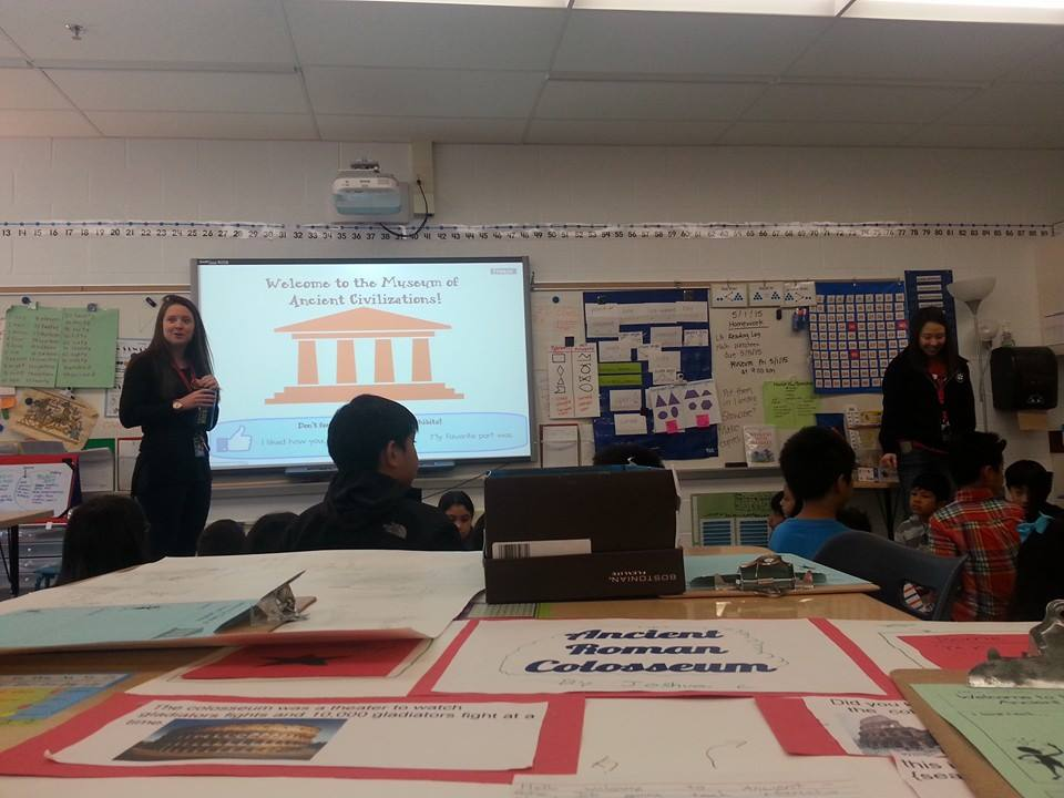 interactive flat panel display in the classroom