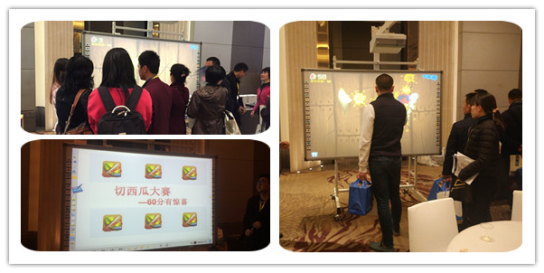 Some visitors were playing Fruit Ninjia game on Intech interactive whiteboard