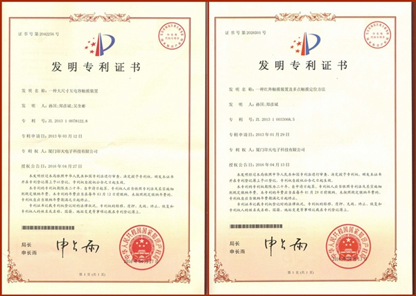 INTECH Obtained Two Technology Invention Patents