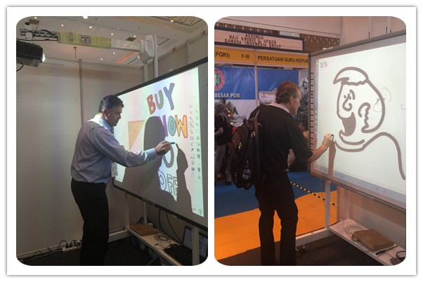 Visitors were experiencing our interactive whiteboard.